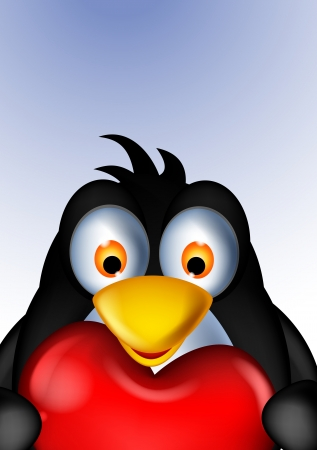 zoomed: penguin cartoon holding heart love