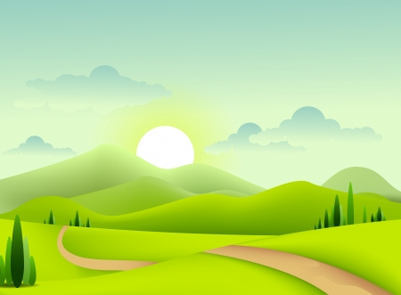 mountain road: beauty green landscape of sunny morning