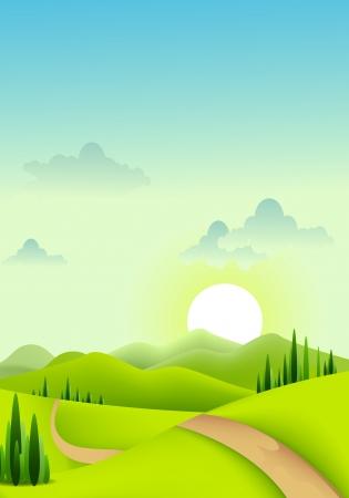 farm land: beauty green landscape of sunny morning