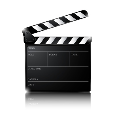 directors cut: illustration of Clapper board isolated on white background Illustration