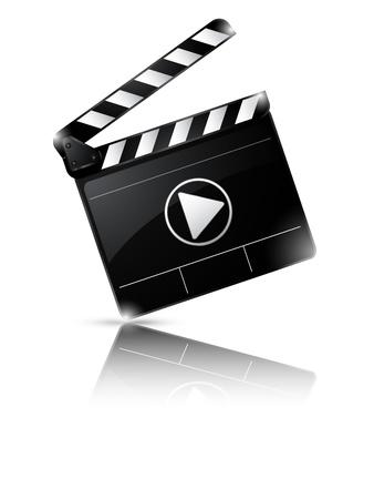 film slate: illustration of Clapper board isolated on white background Illustration