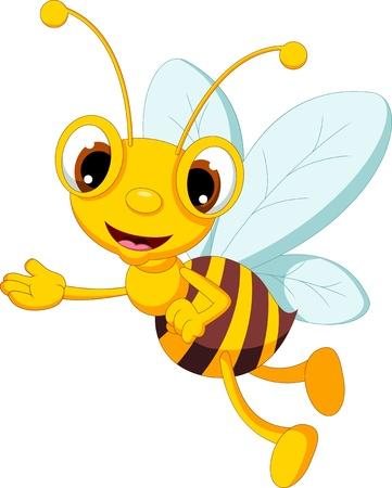 pollinating: funny bee cartoon waving