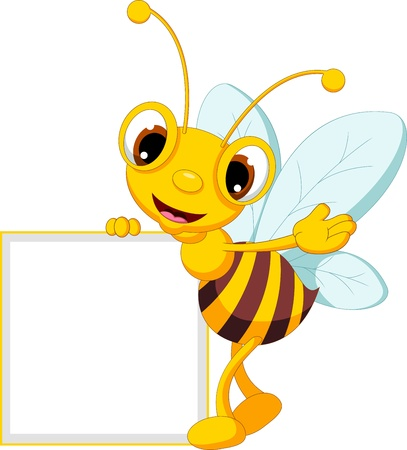 bee on white flower: funny bee cartoon waving and holding blank sign