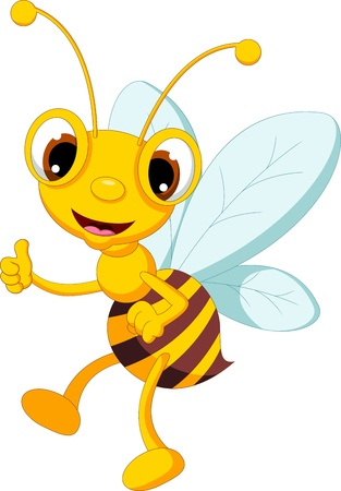 funny bee cartoon thumb up Illustration