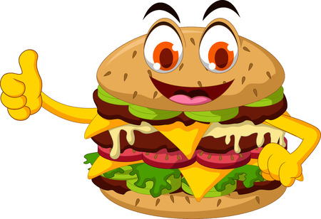 chutney: cute cartoon burger thumb up