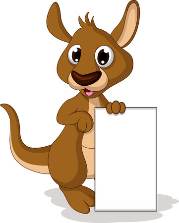 cute baby kangaroo cartoon holding blank sign Vector