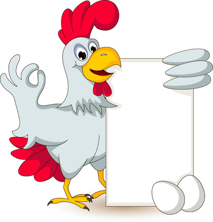 funny chicken holding blank sign