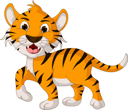 funny tiger cartoon walking Vector