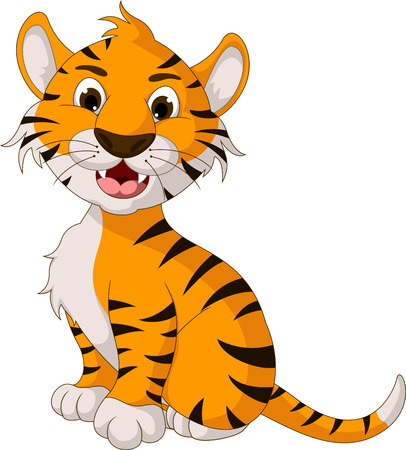 funny tiger cartoon posing Vector