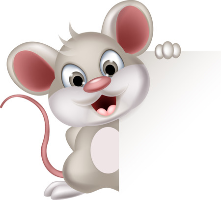 mouse animal: funny mouse cartoon with blank sign