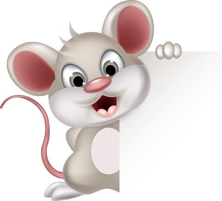 maus cartoon: lustige Maus Cartoon mit leeren Zeichen Illustration