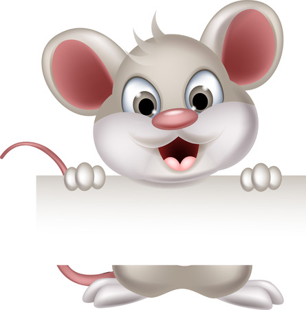 mouse cartoon: funny mouse cartoon with blank sign
