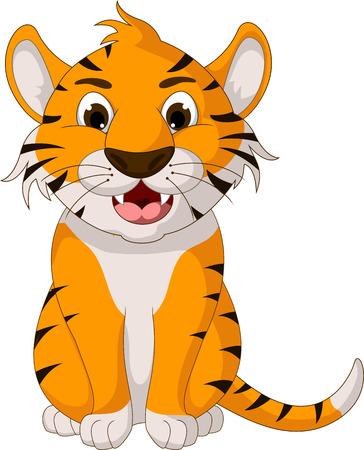 tigre cachorro: tigre lindo dibujo animado que se sienta Vectores