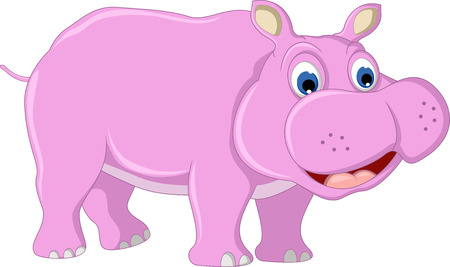 hippo cartoon: cute hippo cartoon posing