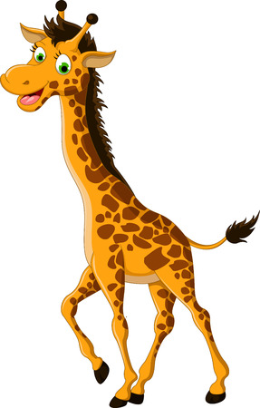 an adorable: cute giraffe cartoon smiling