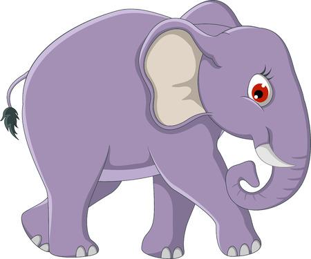 zoology: cute elephant cartoon walking Illustration