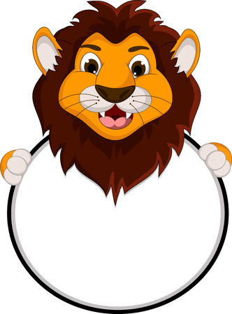 cute lion cartoon holding blank sign Illustration
