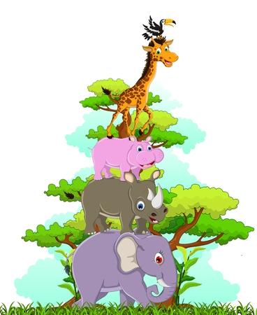 mandrill: divertente cartone animato di animali che presentano