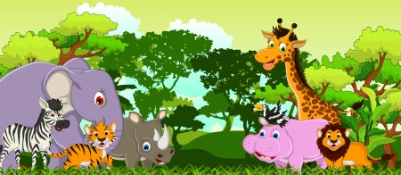 funny animal cartoon with tropical forest background Vector