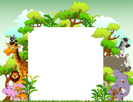 cute animal cartoon with blank sign and tropical forest background Çizim