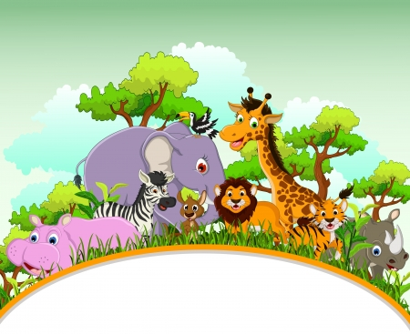 cute animal cartoon with blank sign and tropical forest background Vectores