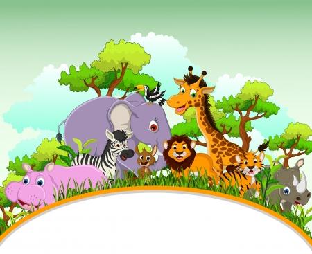 schattige dieren cartoon: schattige dieren cartoon met lege bord en tropische bos achtergrond Stock Illustratie