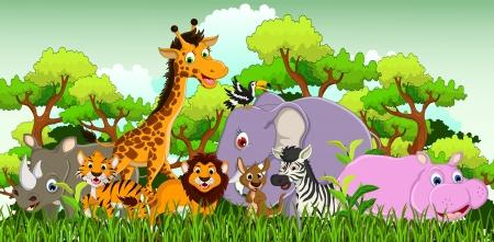 schattige dieren cartoon: schattige dieren cartoon met tropische bos achtergrond Stock Illustratie