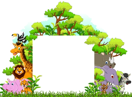 cute animal cartoon with blank sign and tropical forest background Vector
