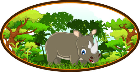 rhino cartoon with forest background Vector