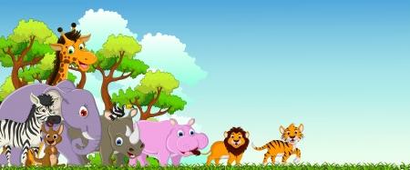 열대 숲을 배경으로 귀여운 동물 만화 일러스트