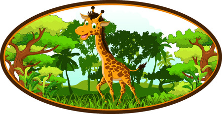 piebald: giraffe cartoon on forest background Illustration