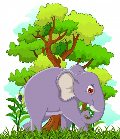 pal: elephant cartoon with forest background