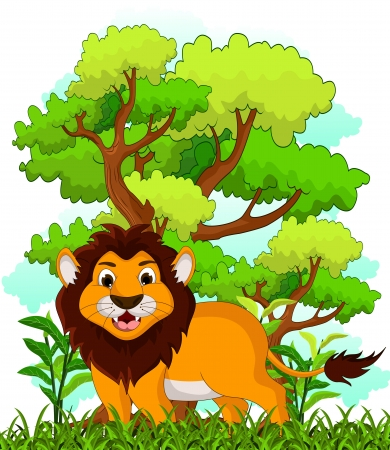 lion cartoon with forest background Stock Vector - 22605706