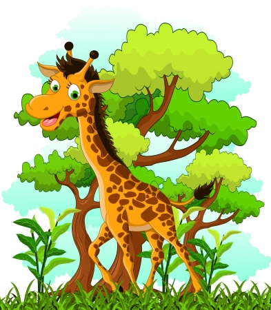 giraffe cartoon on forest background Illustration