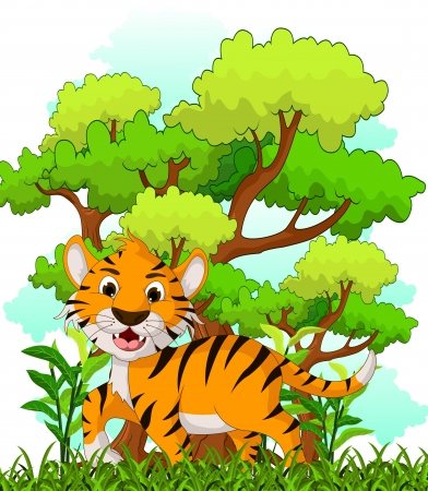 tiger cartoon with forest background Vector