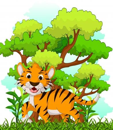 tigre caricatura: tigre de la historieta con el fondo del bosque