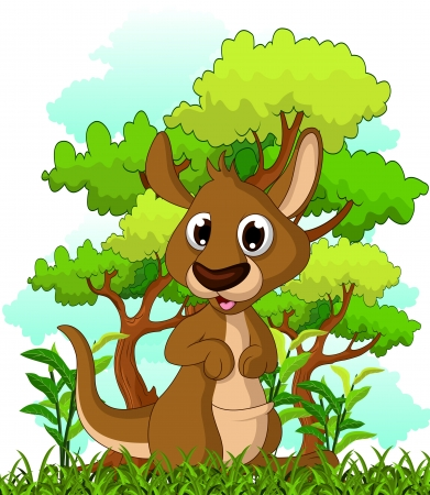 kangaroo cartoon with forest background Stock Vector - 22605710