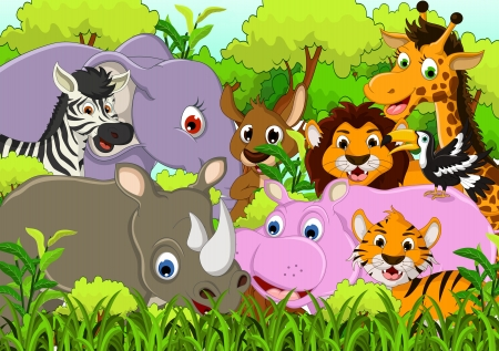 cute animal cartoon with tropical forest background Vector