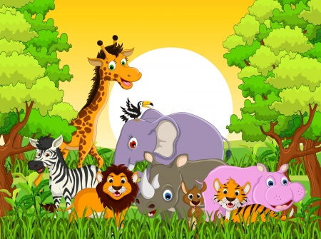 illustration of cute animal wildlife cartoon with forest background