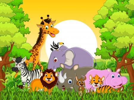 hipopotamo caricatura: ilustraci�n de dibujos animados lindo animal de la fauna de los bosques de fondo