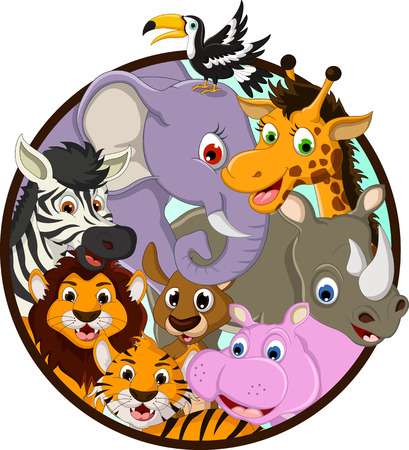 illustration of cute animal wildlife cartoon Vector