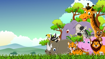 illustration of cute animal wildlife cartoon with forest background Vector