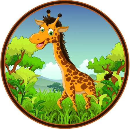piebald: giraffe cartoon on forest