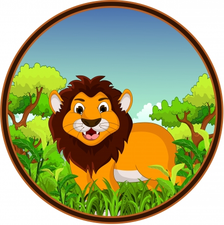 lion cartoon with forest background Stock Vector - 22778601