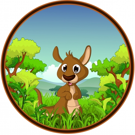 kangaroo with forest background Stock Vector - 22778604