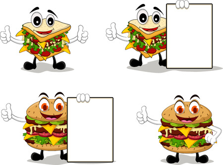 thumbs up group: four sandwich cartoon with different poses