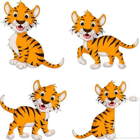 cute tiger cartoon collection Vector