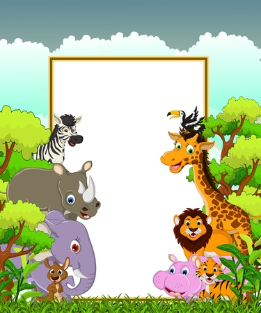 animal wildlife cartoon with blank sign and forest background Vector