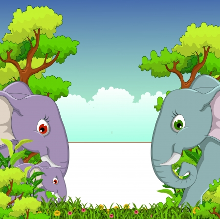tucan: couple elephant cartoon with forest background Illustration