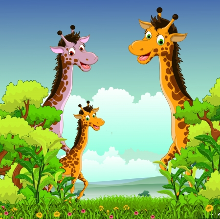 giraffe cartoon with forest background Vector